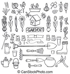 Spring garden doodles.Flowers,bulbs,plants,tools - Spring...