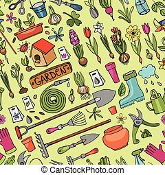 Spring garden doodles.Colored seamless pattern - Spring...