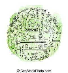 Spring garden doodles in circle.Watercolor greeen splash -...