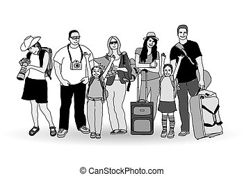 Group tourists people gray scale isolate on white Monochrome...
