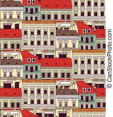 City buildings down town color seamless pattern. Color...
