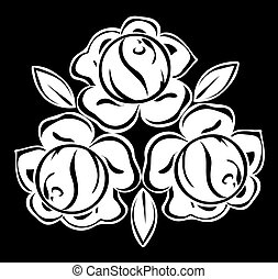 beautiful monochrome black and white roses and leaves isolated.