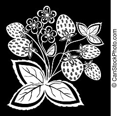 beautiful monochrome black and white strawberry, flower with leaves and swirls isolated.