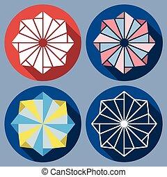 abstract octagonal shuriken - Set of abstract octagonal...