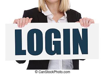 概念, 事務, 登記, 電腦, 網際網路, 登錄, 密碼, 安全