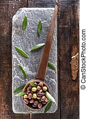 Mixed olives in brine - Aperitif with mixed olives in brine...