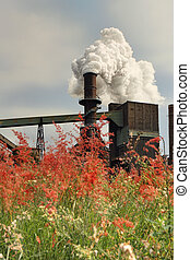 Steel Mill Smelter emitting toxic fumes from chimney - Steel...
