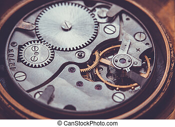 Clockwork Close-up Of Old Clock Watch Mechanism - Clockwork...
