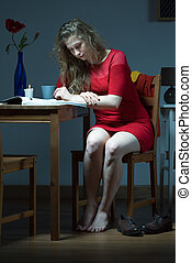 Lonely girl in red dress - Photo of lonely girl in red dress...