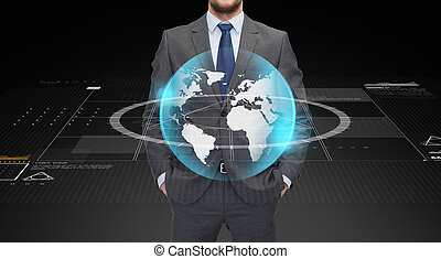 close up of businessman with earth globe