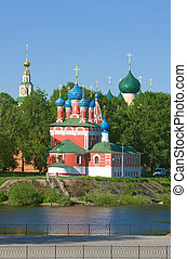 Beautiful church in forest - Church of the Dmitry in Uglich...