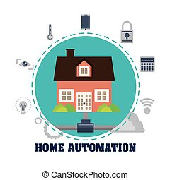 Home automation design - Home automation concept with icon...