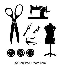 Tailor shop design - tailor shop concept with icon design,...