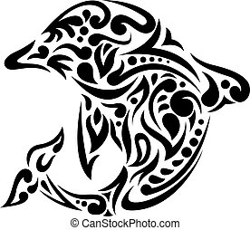 dolphin tattoo - illustration of dolphin tattoo art