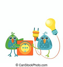 Two Birds Sitting Hold Socket Outlet Plugging Light Bulb Connection Concept Flat