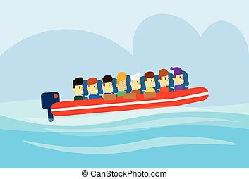 Migrant Crisis People Group Emigrant Motor Boat