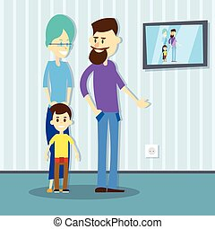 Family Father Mother Son House Interior Flat