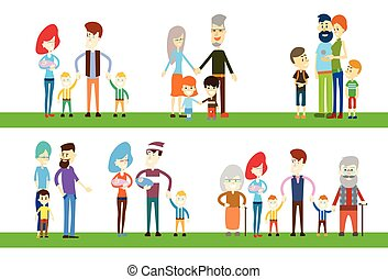 Big Family Children Parents Grandparents Generation