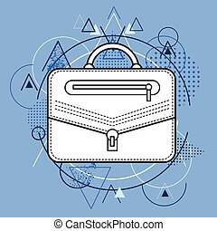 Briefcase Over Triangle Geometric Background Vector...