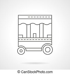 Street food trolley flat thin line vector icon - Food...