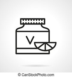 Vitamins jar black line vector icon - Plastic can with...