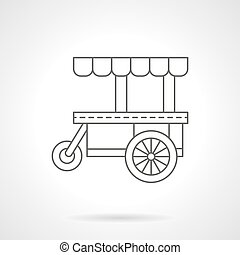 Cakes trolley flat thin line vector icon - Street food trade...