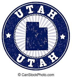 Utah stamp - Grunge rubber stamp with the name and map of...