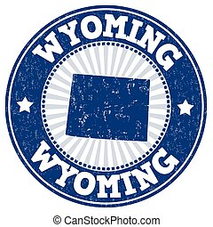 Wyoming stamp - Grunge rubber stamp with the name and map of...