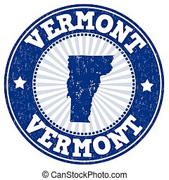 Vermont stamp - Grunge rubber stamp with the name and map of...