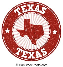 Texas stamp - Grunge rubber stamp with the name and map of...