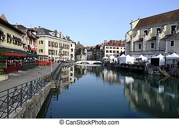 Annecy city in Savoy, France - Overview of Annecy old town...
