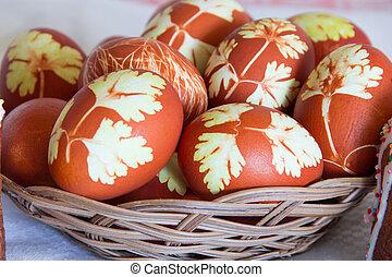 Pascua, huevos, en, cestería, placa,