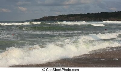 Sea storm off Rocky Coastline - Small sea storm off the...
