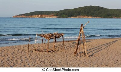 Summer Evening Sandy Beach - Summer sea evening landscape...