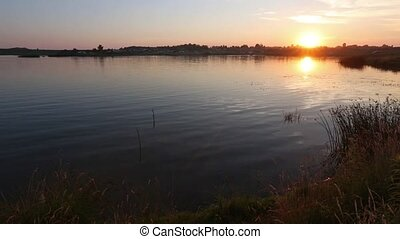 Sunset Lake Summer Scenery - Lake summer sunset view with...