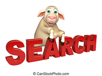 Sheep cartoon character with search sign - 3d rendered...