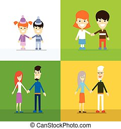 Family Generation Set People Couple Hold Hands Age Concept...