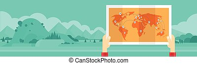 Hand Hold World Man Travel Tourism Concept Mountain...