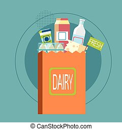 Shopping Bag With Fresh Dairy Food