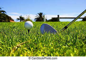 ball and golf clubs on the bright green grass - as a symbol...