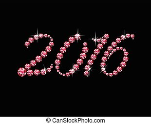 2016 in Ruby Script Jeweled Font - 2016 in stunning Ruby...