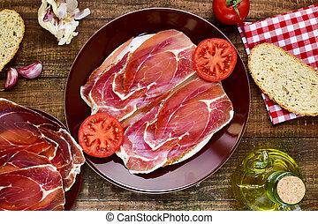 español, cacerola, estafar, tomate, Y, jamon, bread,...