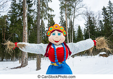 Bright beautiful effigy of Maslenitsa - Bright beautiful...