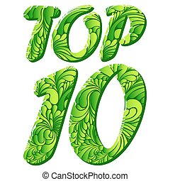 Top ten isolated vector text - Top 10 word isolated on white...