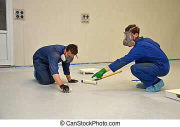 epoxy surface for floor - tradesmen fix a problem while...