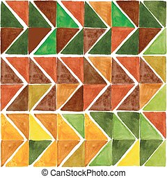 Watercolor triangle seamless pattern. Brown,Yellow,green
