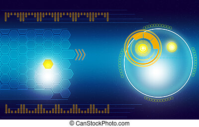 Holographic screen with world map and circles on blue...