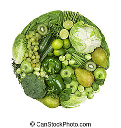 Circle of green fruits and vegetables