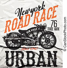 Motorcycle label t-shirt design with illustration of custom...