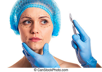 Preparation for facial surgery - Beautiful woman in medical...